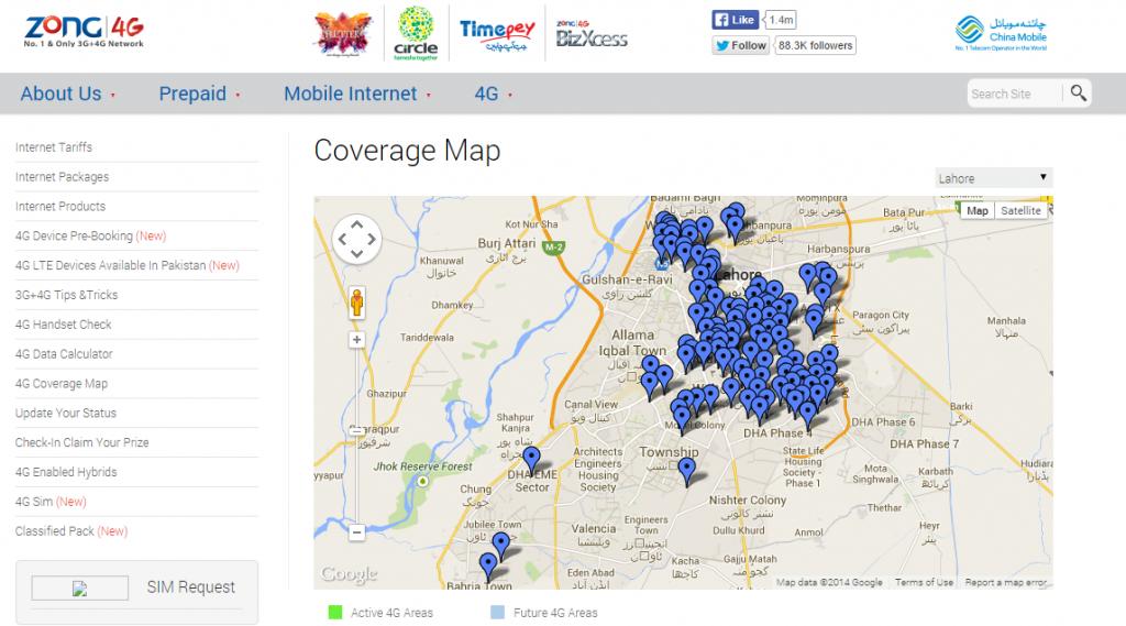 Zong 4G Coverage Map for Lahore